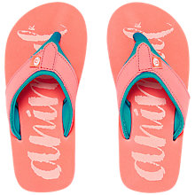 Buy Animal Children's Swish Sun Logo Flip Flops, Sunkissed Orange Online at johnlewis.com