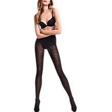 Buy Wolford Avril Animal Print Tights, Black Online at johnlewis.com