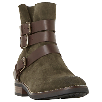 Bertie Pennyford Buckle Ankle Boots, Khaki