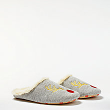 Buy Boden Embroidered Reindeer Slippers, Grey Online at johnlewis.com