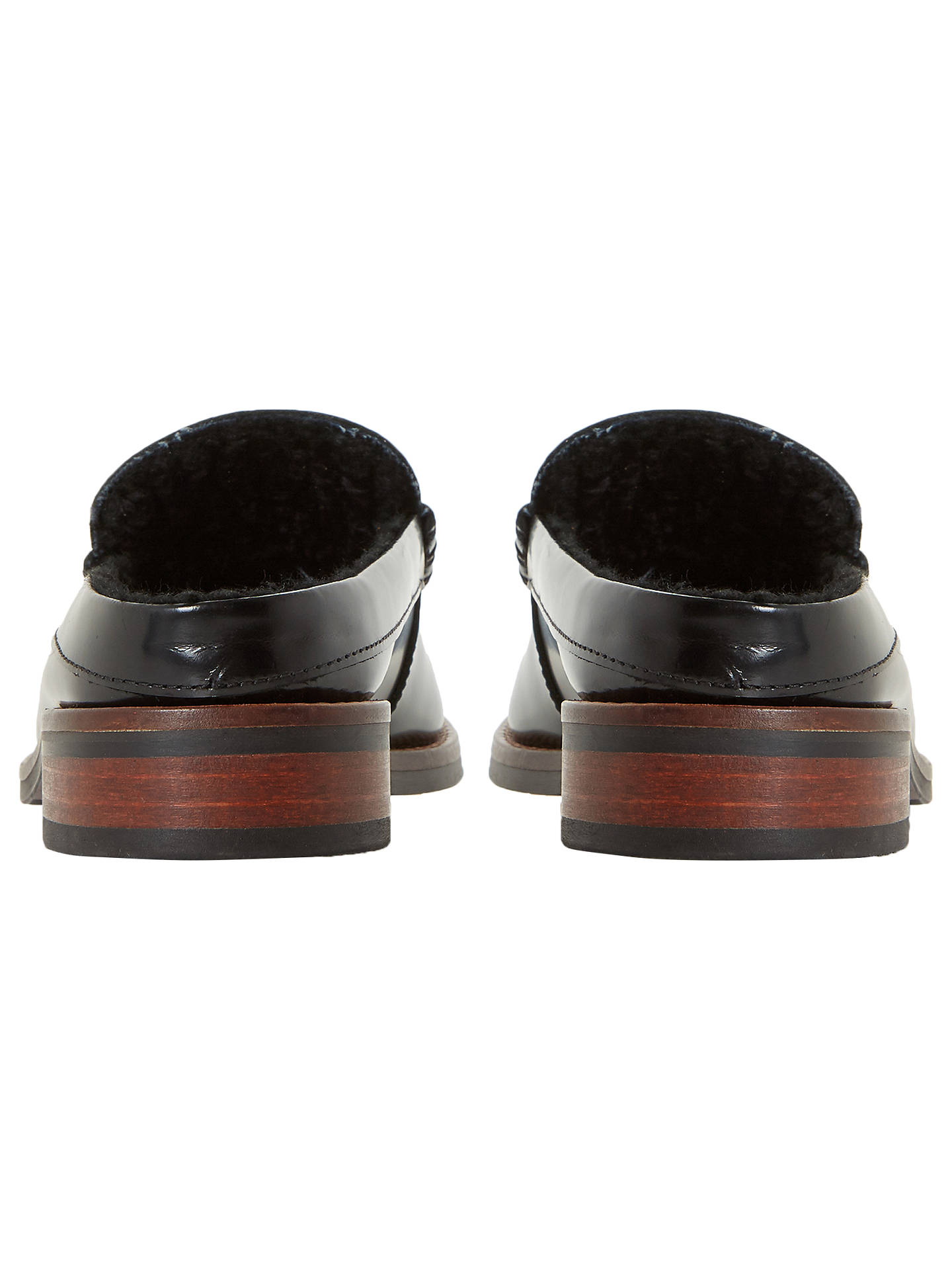 Buy Bertie Greenwood Faux Fur Lined Mule Loafers, Black, 3 Online at johnlewis.com
