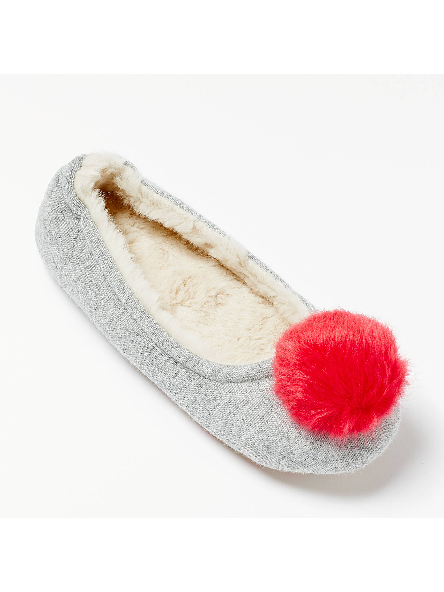 BuyBoden Knitted Pom Pom Slippers, Grey, 4 Online at johnlewis.com