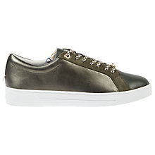 Buy Ted Baker Pehrie Lace Up Trainers, Khaki Online at johnlewis.com