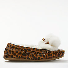 Buy Boden Moccasin Pom Pom Slippers, Leopard Online at johnlewis.com