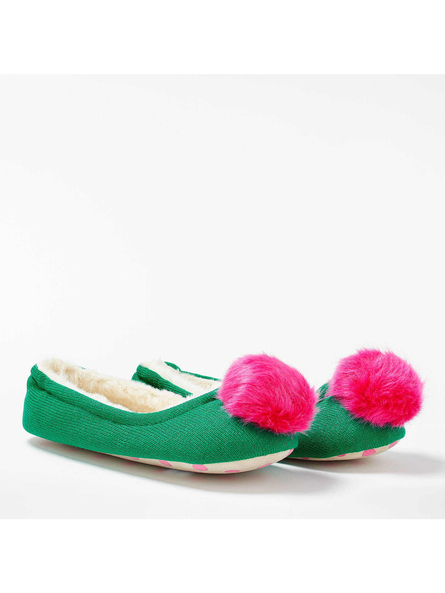 BuyBoden Knitted Pom Pom Slippers, Green, 4 Online at johnlewis.com