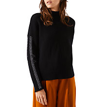 Buy Jigsaw Plait Sleeve Detail Jumper, Black/White Online at johnlewis.com
