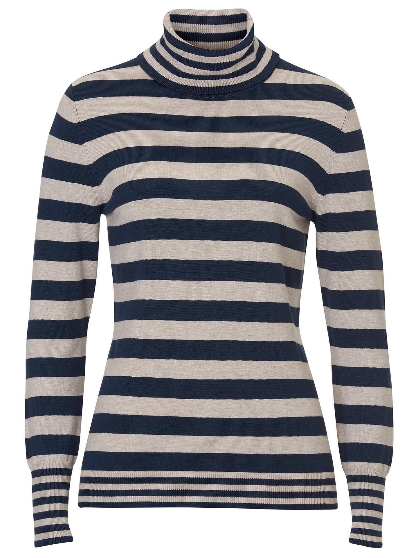 Buy Betty Barclay Roll Neck Striped Jumper, Dark Blue/Stone, 6 Online at johnlewis.com