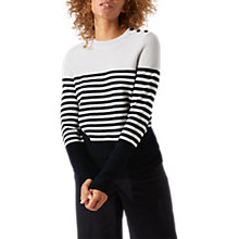 Buy Jigsaw Block Stripe Breton Jumper, Navy Online at johnlewis.com