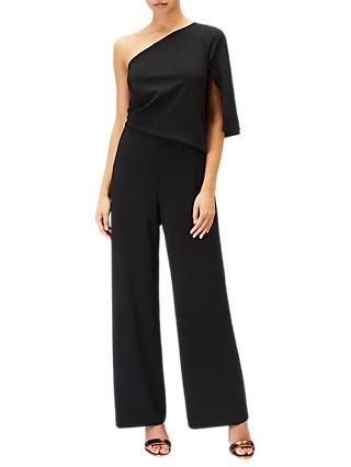 Adrianna Papell One Shoulder Crepe Jumpsuit, Black