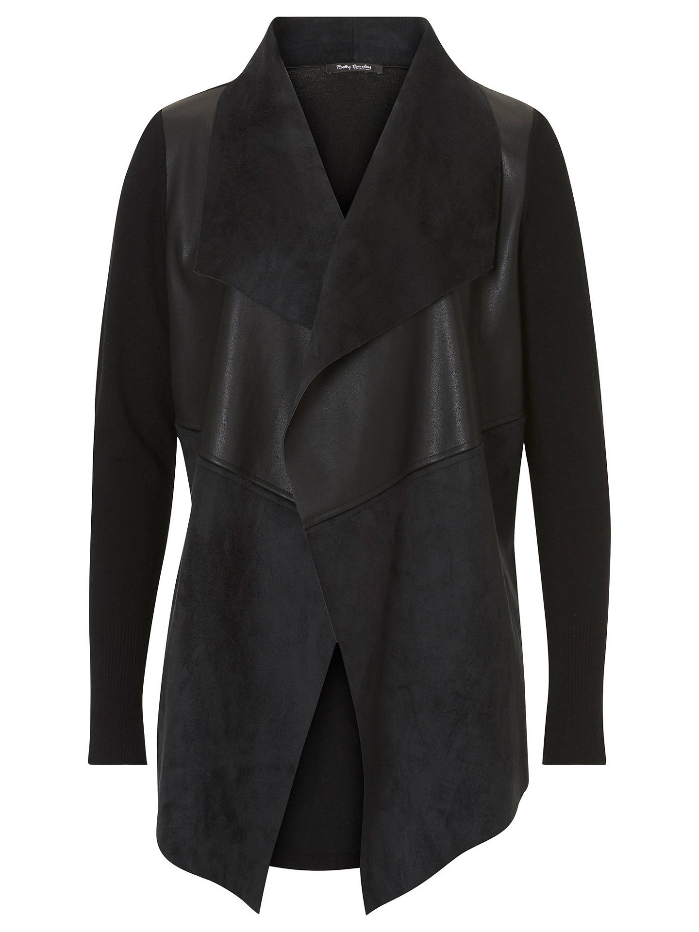 BuyBetty Barclay Faux Suede Leather Trim Jacket, Black, 6 Online at johnlewis.com