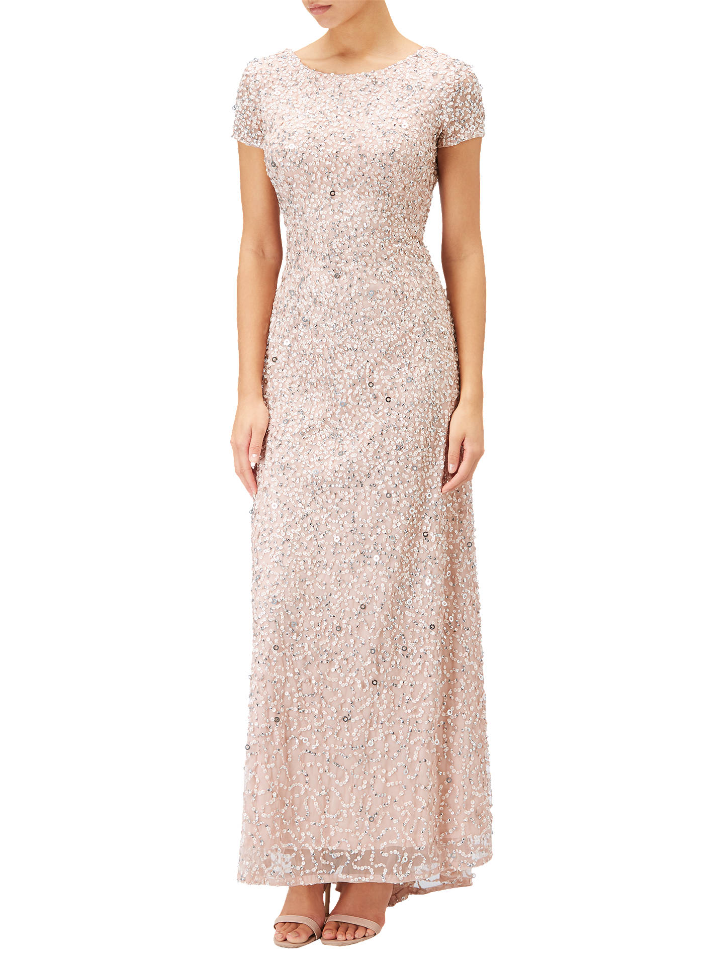 Adrianna Papell Petite Scoop Back Sequin Evening Dress, Blush at ...