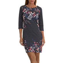 Buy Betty Barclay Floral Stripe Dress, Black/Red Online at johnlewis.com