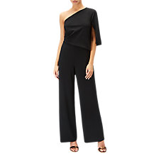 Buy Adrianna Papell One Shoulder Crepe Jumpsuit, Black Online at johnlewis.com