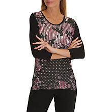 Buy Betty Barclay Floral Stripe T-Shirt, Black/Cream Online at johnlewis.com