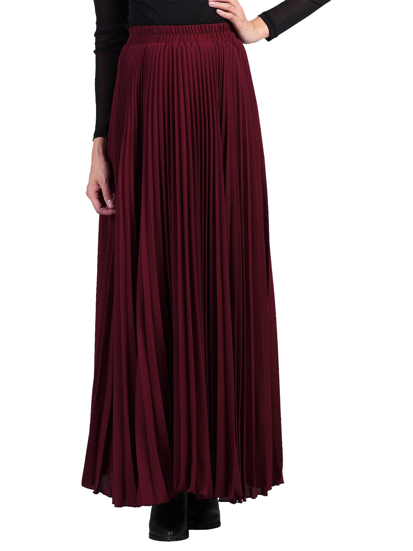 c71fdabe21 Buy Jolie Moi Pleated Crepe Maxi Skirt, Burgundy, 8 Online at johnlewis.com  ...