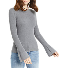 Buy Oasis Rib Crew Fluted Sleeve Knit Top, Mid Grey Online at johnlewis.com