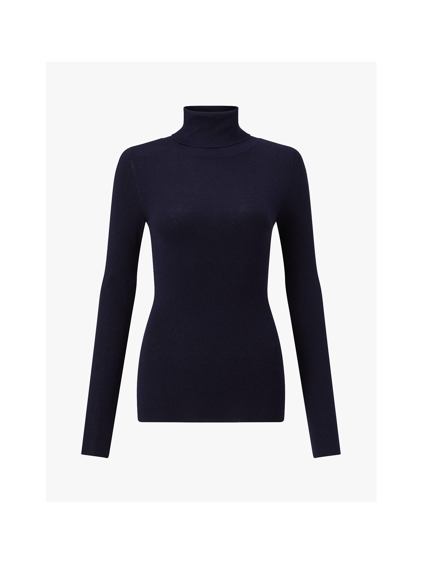 BuyJigsaw Silk Cotton Polo Neck Jumper, Navy, XS Online at johnlewis.com