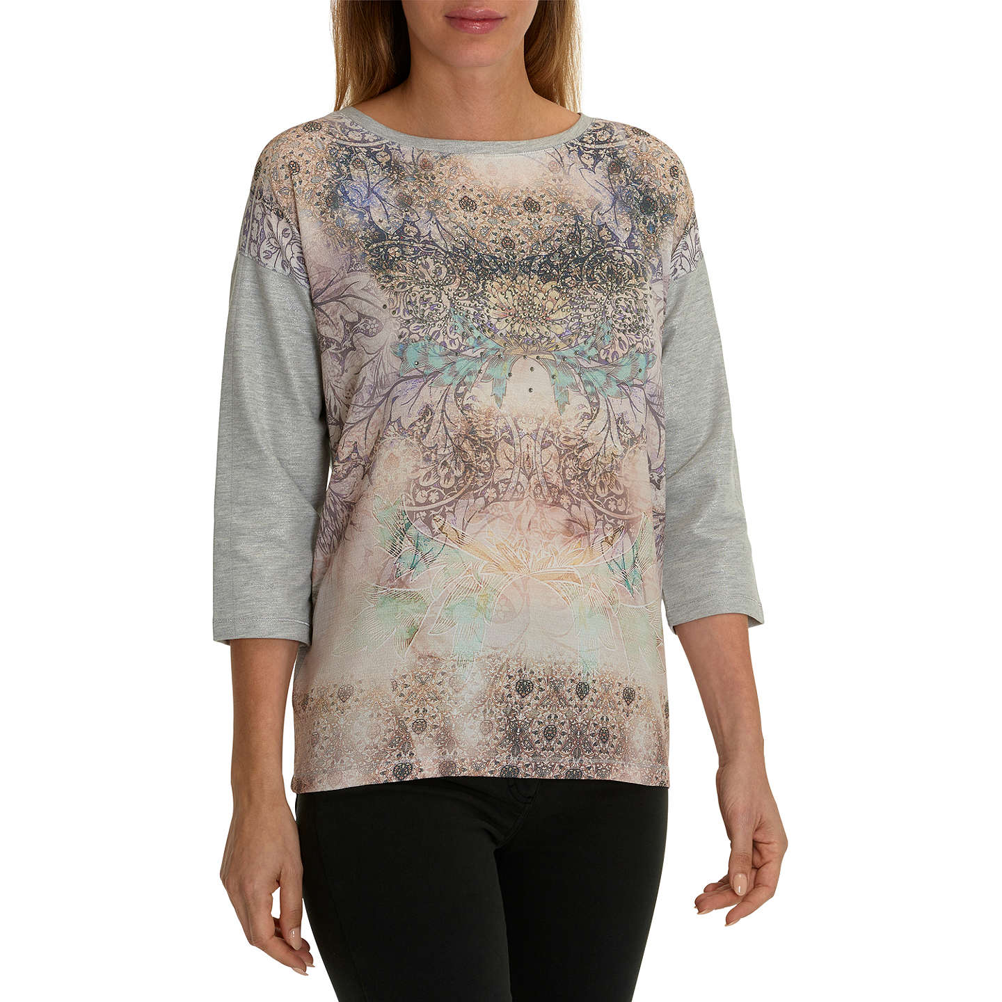 BuyBetty Barclay Embellished Printed Top, Grey/Purple, 8 Online at johnlewis.com