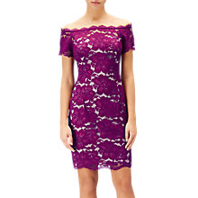 Buy Adrianna Papell Sheath Bardot Petite Lace Dress, Wildberry/Blush Online at johnlewis.com