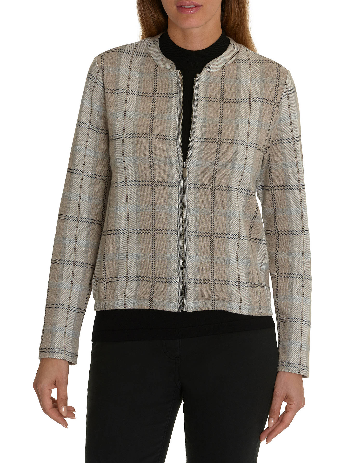 BuyBetty Barclay Check Blouson Jacket, Taupe/Grey, 10 Online at johnlewis.com
