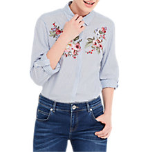Buy Oasis Chintz Embroidered Shirt, Multi/Blue Online at johnlewis.com