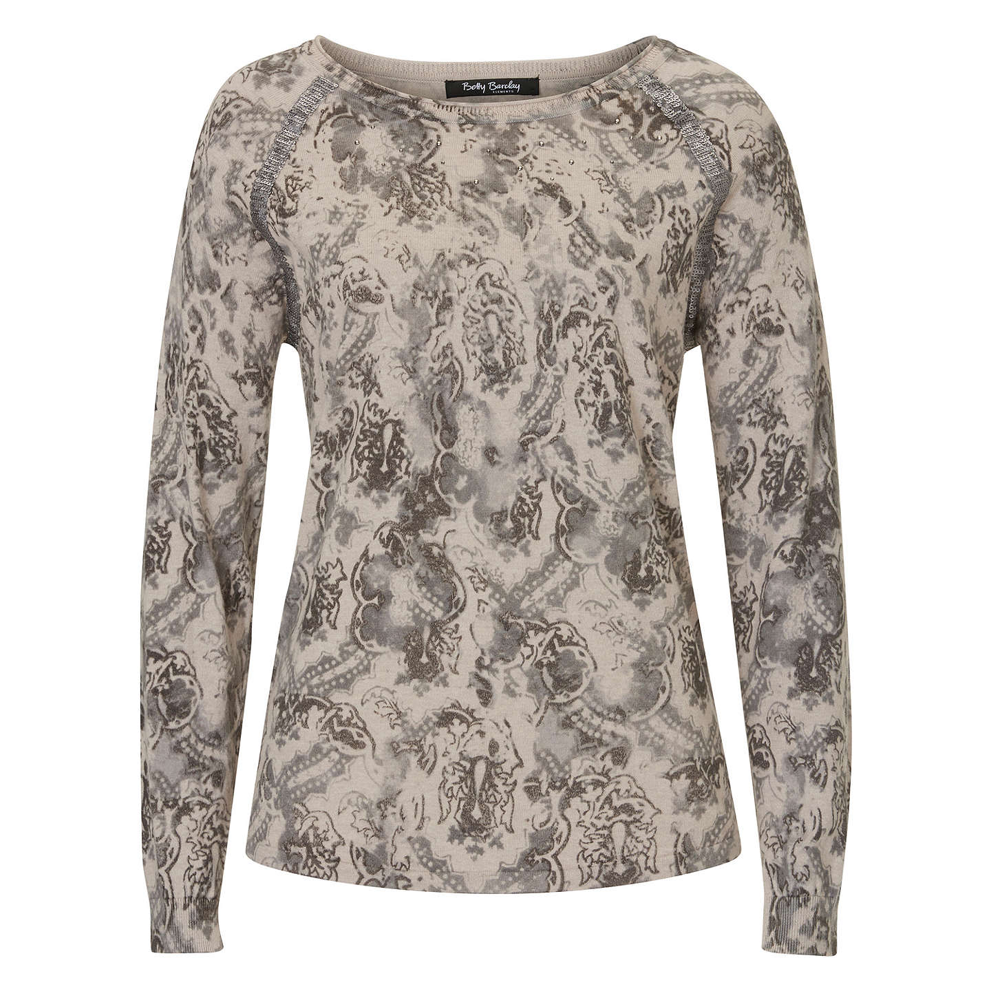 BuyBetty Barclay Embellished Print Jumper, Grey, 10 Online at johnlewis.com