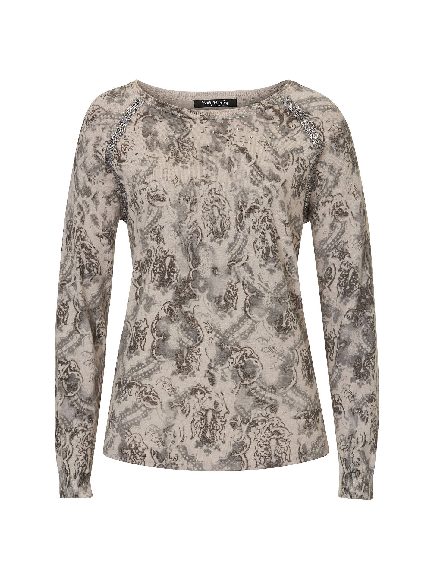 BuyBetty Barclay Embellished Print Jumper, Grey, 6 Online at johnlewis.com