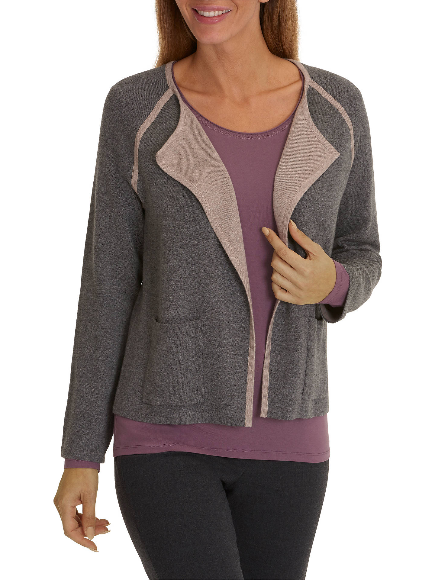 BuyBetty Barclay Waterfall Cardigan, Middle Grey Melange, 8 Online at johnlewis.com