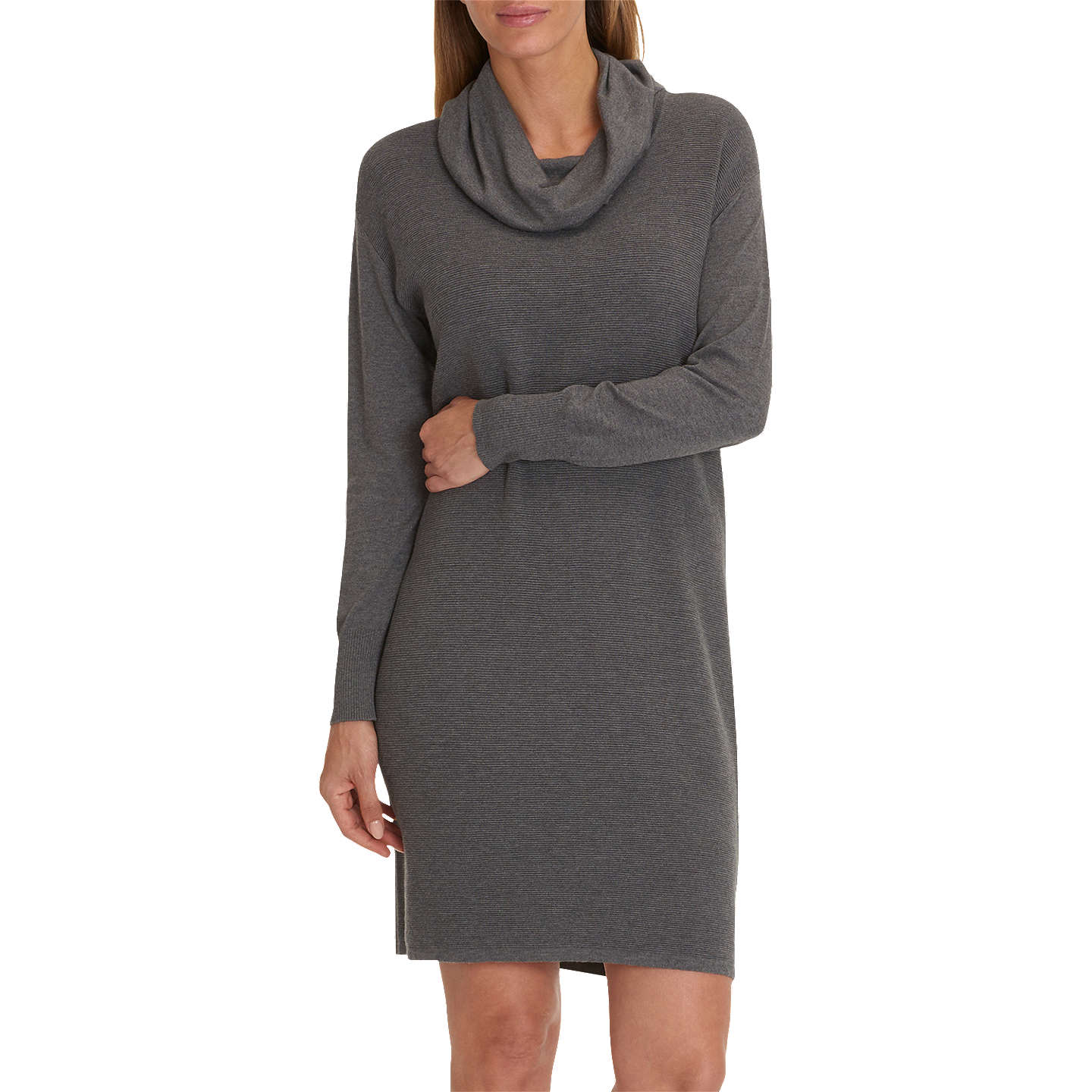 BuyBetty Barclay Fine Ribbed Knit Dress, Middle Grey Melange, 20 Online at johnlewis.com