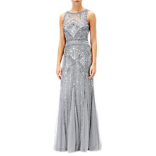 Buy Adrianna Papell Sleeveless Round Neck Beaded Gown, Silver/Grey Online at johnlewis.com