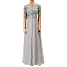 Buy Adrianna Papell Petite Beaded Bodice Gown, Platinum Online at johnlewis.com