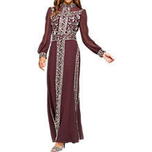 Buy Miss Selfridge Grace Embellished Maxi Dress, Burgundy Online at johnlewis.com
