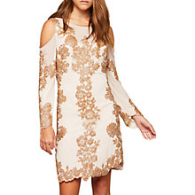Buy Miss Selfridge Cold Shoulder Dress, Nude Online at johnlewis.com