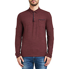 Buy BOSS Orange Patcherman Polo Top, Open Red Online at johnlewis.com