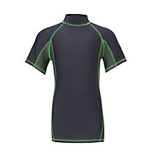 Buy John Lewis Boys' Solid Short Sleeve Rash Vest, Black/Green Online at johnlewis.com