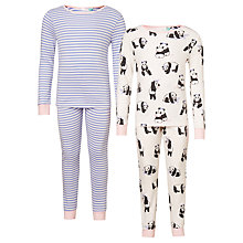 Buy John Lewis Children's Panda Print Pyjamas, Pack of 2, Pink/Blue Online at johnlewis.com