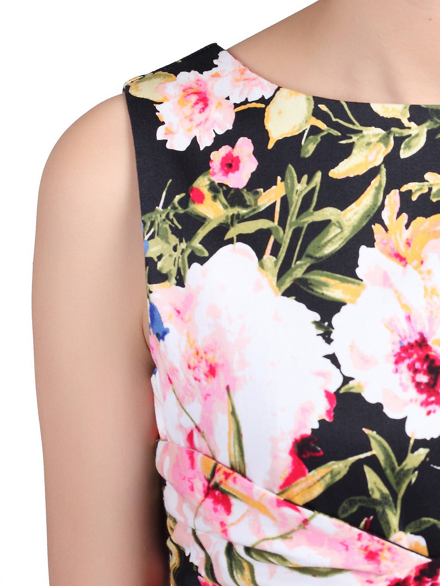 BuyJolie Moi Floral Print Crossover Dress, Black/Multi, 8 Online at johnlewis.com