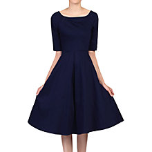 Buy Jolie Moi Half Sleeve Scoop Neck Swing Dress, Navy Online at johnlewis.com
