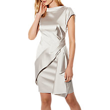 Buy Karen Millen Satin Drape Dress, Silver Online at johnlewis.com