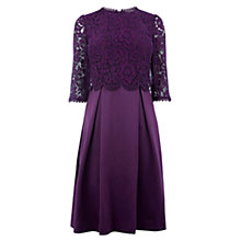 Buy Oasis Long Length Lace Bodice Skater Dress, Berry Online at johnlewis.com