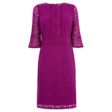 Buy Oasis Long Length Kick Sleeve Lace Dress, Deep Pink Online at johnlewis.com