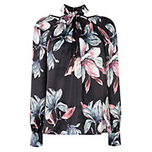 Buy Karen Millen Beaut Oversized Floral Blouse, Black/Multi Online at johnlewis.com