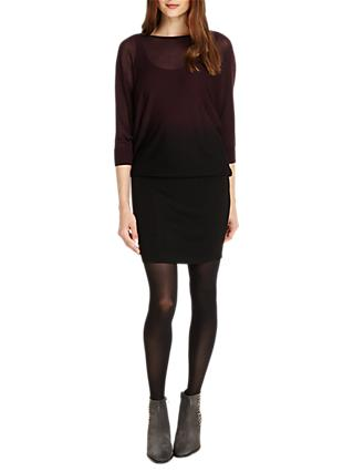 Phase Eight Sheer Becca Batwing Dress, Merlot/Black
