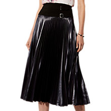 Buy Karen Millen Metallic Drama Pleated Midi Skirt, Dark Charcoal Online at johnlewis.com