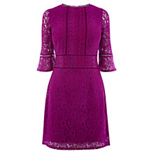 Buy Oasis Kick Sleeve Lace Dress, Deep Pink Online at johnlewis.com