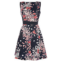 Buy Oasis Blossom Jacquard Floral Sleeveless Skater Dress, Midnight/Blush Online at johnlewis.com