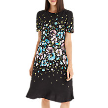 Buy Oasis Long Length Rosetti Short Sleeve Skater Dress, Multi/Black Online at johnlewis.com