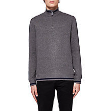Buy Ted Baker Sindey Half Zip Jumper, Charcoal Online at johnlewis.com