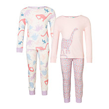 Buy John Lewis Children's Dinosaur Print Pyjamas, Pack of 2, Pink Online at johnlewis.com