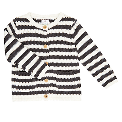 Product photo of John lewis baby stripe cardigan cream grey